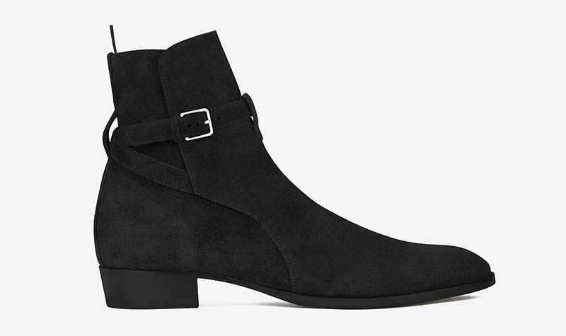 Saint Laurent Jodhpur Boot in Black Suede