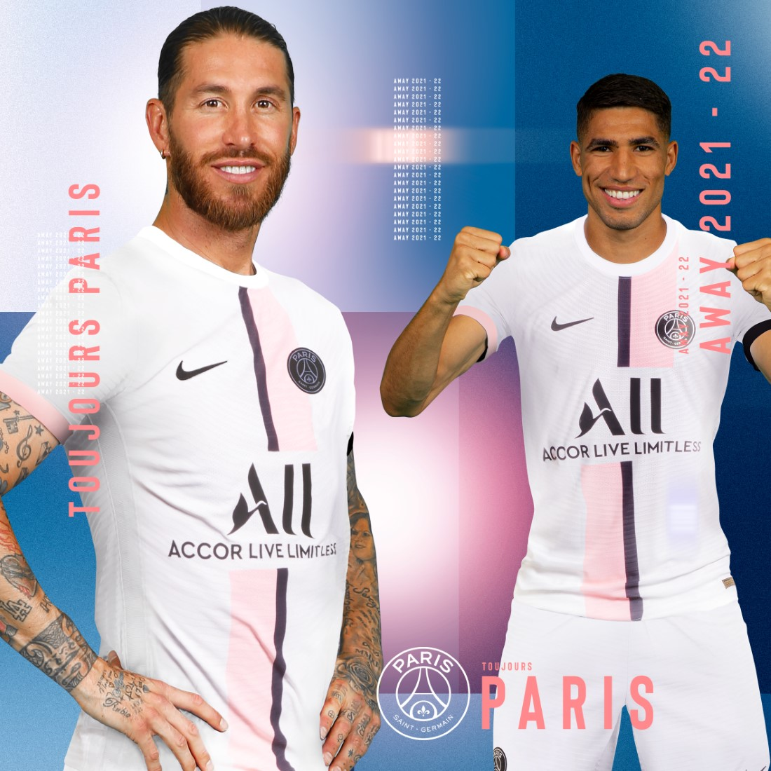 Paris Saint-Germain Maillot Extérieur 2021-22 - Ramos & Hakimi